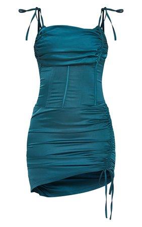 Emerald Green Strappy Cowl Corset Bodycon Dress   PrettyLittleThing USA