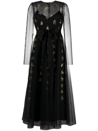 RedValentino Floral Embroidered Tulle Dress - Farfetch