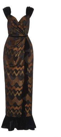 Markarian Velvet-Trimmed Brocade Gown