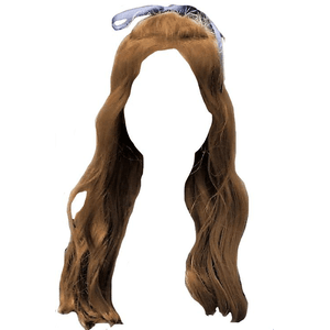 Brown Hair Blue Ribbon PNG