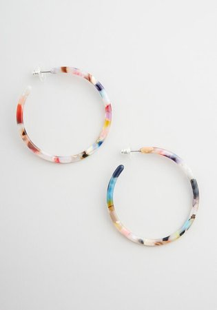 Marvelously Marbled Hoop Earring in Multi | ModCloth