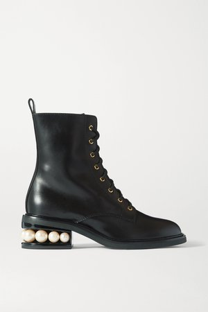 Black Casati embellished leather ankle boots | Nicholas Kirkwood | NET-A-PORTER