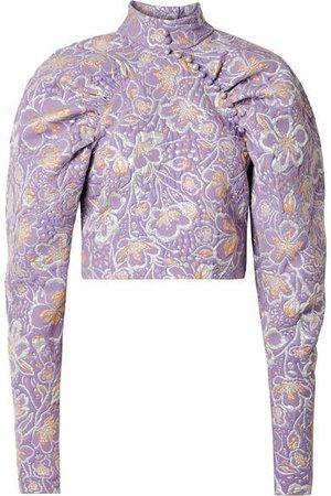 Kim Cropped Metallic Brocade Top - Lavender