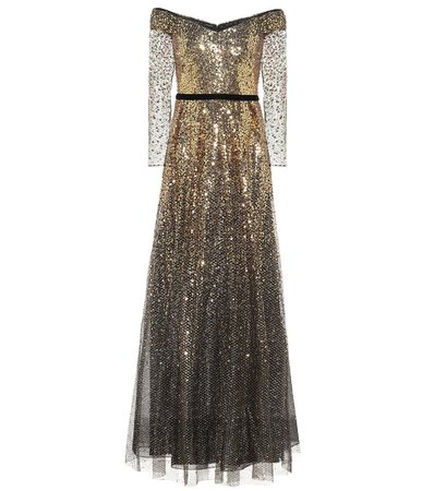 Off-The-Shoulder Sequined Gown - Marchesa Notte | Mytheresa
