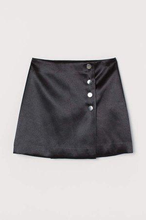 Short Satin Skirt - Black