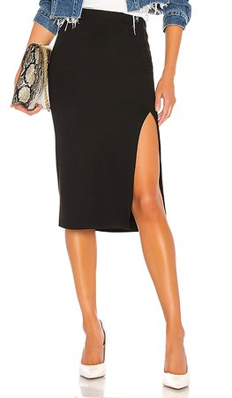 Lovers + Friends Aubrey Midi Skirt in Black | REVOLVE