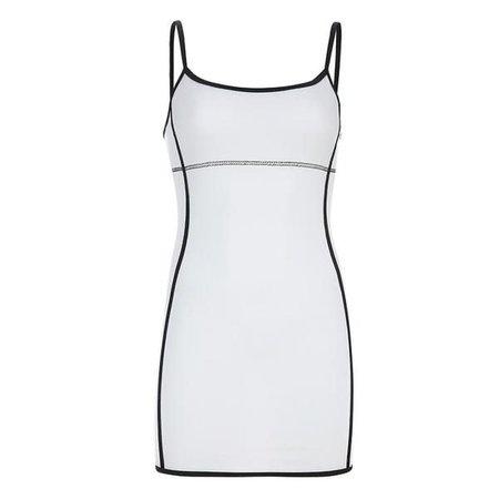 WHITE CONTRAST MINI DRESS