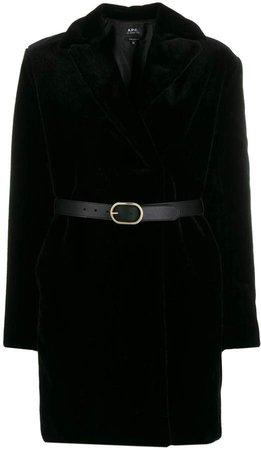 Luisa faux-fur belted coat