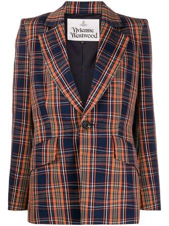 Vivienne Westwood structured-shoulder Check Blazer - Farfetch