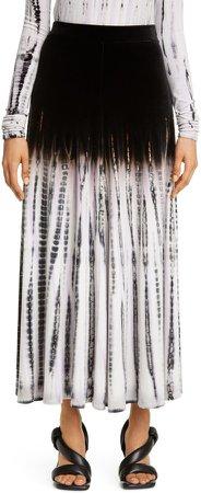 Tie Dye Velvet Midi Skirt