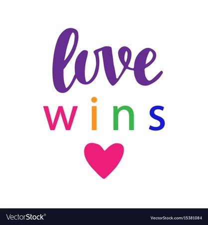 Love wins pride slogan gay rights concept Vector Image