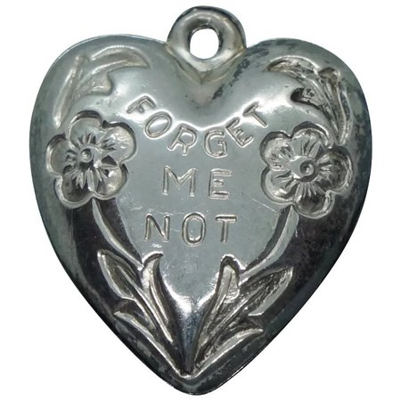 Vintage Sterling Forget Me Not Puffy Heart Charm DB : Golden Rings | Ruby Lane