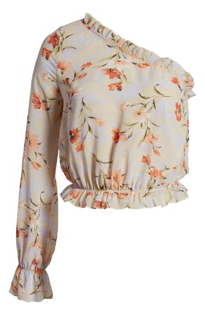 CODEXMODE Floral One-Shoulder Chiffon Blouse | Nordstrom