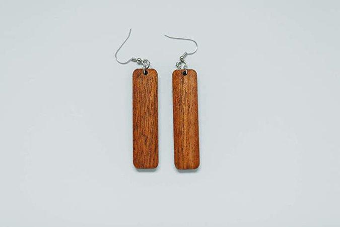 Amazon.com: Long Rectangle Wood Earrings from Natural Reclaimed Mahogany: Handmade