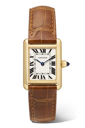 Cartier | Tank Louis Cartier 22mm small 18-karat gold and alligator watch | NET-A-PORTER.COM