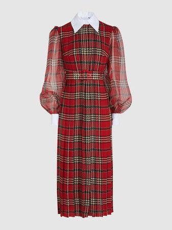 Emilia Wickstead - Anni Tartan Georgette Midi Dress | The Modist
