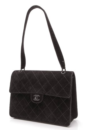 Chanel Vintage Flap Shoulder Bag - Black Velvet