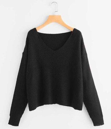shein v-neck sweater black v neck shirt top