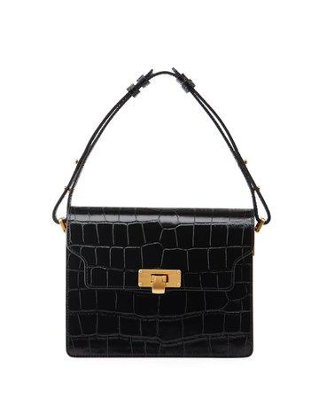 Marge Sherwood Vintage Small Croc-Print Shoulder Bag | Neiman Marcus