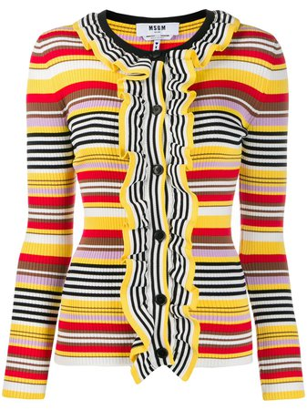Shop yellow MSGM striped ruffled cardigan with Express Delivery - Farfetch