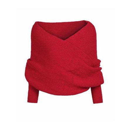 Multitrust - Multitrust Womens Off Shoulder Cross Wrap Sweater Blouse Tops Scarf Pullover - Walmart.com - Walmart.com