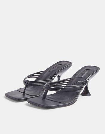 Topshop toe post kitten heel sandals in black | ASOS
