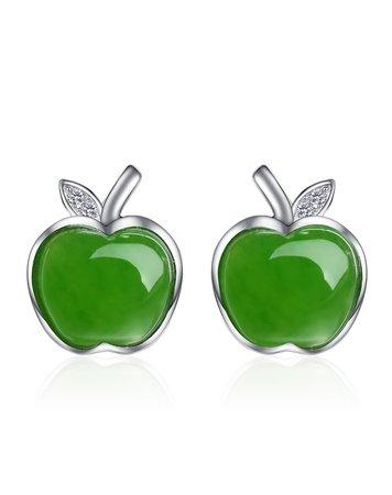 apple earrings green