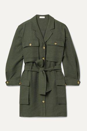 Army green Kaiden belted Tencel-blend twill mini dress | Anine Bing | NET-A-PORTER
