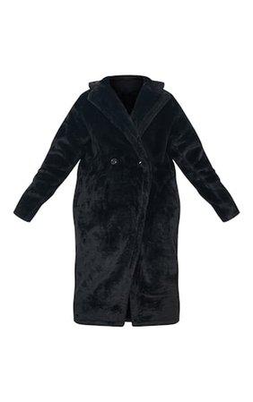 Faux Fur Black Coat   Coats & Jackets   PrettyLittleThing