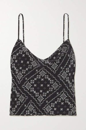 Jill Draped Paisley-print Silk Camisole - Black