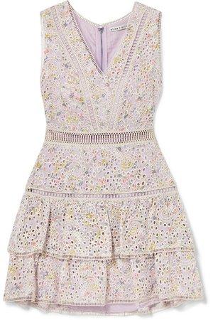Alice + Olivia | Tonie tiered printed broderie anglaise modal mini dress | NET-A-PORTER.COM