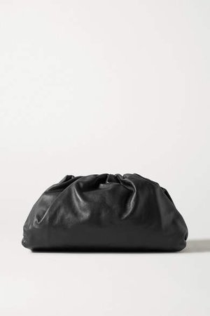 The Pouch Large Gathered Leather Clutch - Black