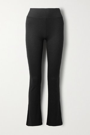 Ribbed-knit Flared Pants - Black