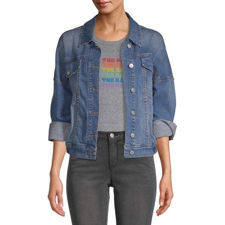 Scoop - Scoop Trucker Jean Jacket Medium Wash Women's - Walmart.com - Walmart.com