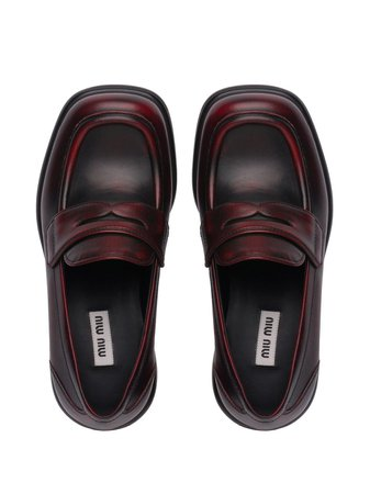 Miu Miu square-toe block heel loafers red 5D206DF040P70 - Farfetch