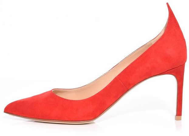 Flame Suede Pump in Red