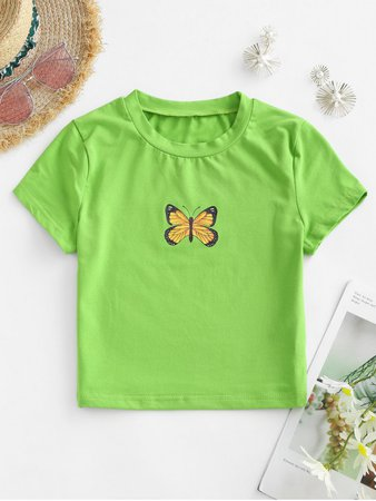 [33% OFF] [NEW] 2020 Cropped Butterfly Graphic Tee In GREEN | ZAFUL