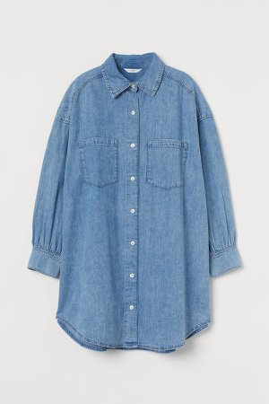 Long Denim Shirt - Blue