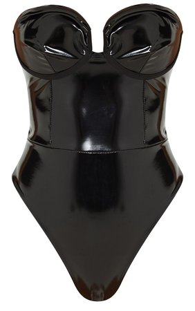Black Vinyl Cup Bodysuit | Tops | PrettyLittleThing USA