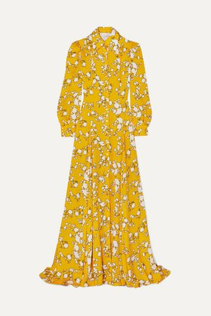 Floral-print Satin-twill Gown - Yellow