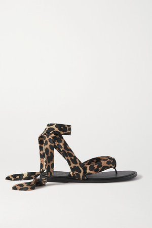 Leopard-print Shell And Leather Sandals - Leopard print