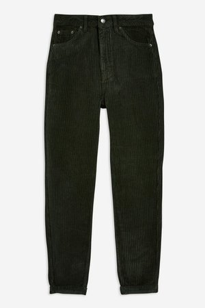 Forest Green Corduroy Mom Jeans | Topshop black