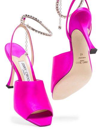 Jimmy Choo Sae 90mm crystal-embellished Sandals - Farfetch