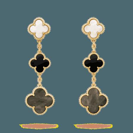 Van Cleef & Arpels, Magic Alhambra earrings, 3 motifs Yellow gold, Mother-of-pearl, Onyx