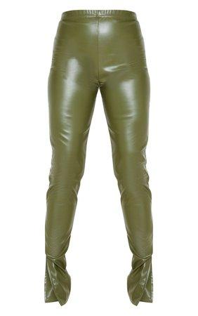 Khaki Faux Leather Split Hem Leggings | PrettyLittleThing