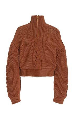 Eria Cable-Knit Cotton-Blend Cropped Sweater By Nanushka | Moda Operandi