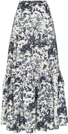 Althea floral print tiered skirt