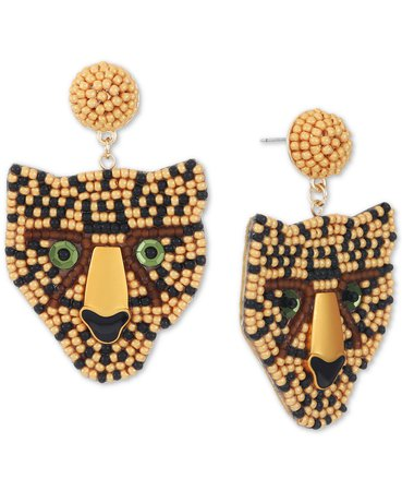 INC International Concepts INC Gold-Tone Crystal & Seed Bead Cheetah Stud Earrings, Created for Macy's & Reviews - Earrings - Jewelry & Watches - Macy's