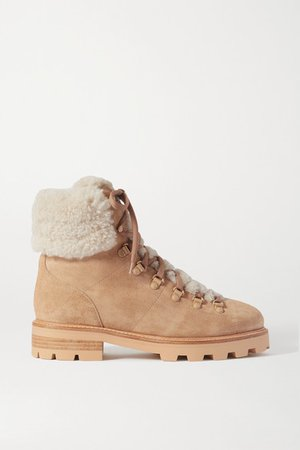 Eshe Shearling-lined Suede Ankle Boots - Beige
