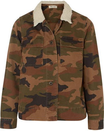 Northward Faux Shearling-trimmed Camouflage-print Cotton-twill Jacket - Green